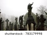 Statues Of Angels In Misty...