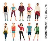 young people in sport clothes... | Shutterstock . vector #783182278
