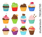 delicious cupcakes and... | Shutterstock . vector #783182785
