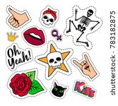 colorful quirky funny patches... | Shutterstock . vector #783182875