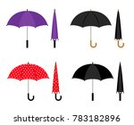 umbrellas folded and opened... | Shutterstock . vector #783182896