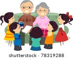 Illustration of Kids Presenting Gifts to Their Grandparents - stock vector
