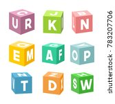set of colorful toy bricks with ... | Shutterstock . vector #783207706