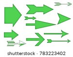 straight arrows of green color. | Shutterstock . vector #783223402