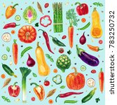 pattern with vegetables... | Shutterstock . vector #783250732