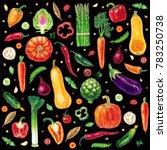 pattern with vegetables... | Shutterstock . vector #783250738