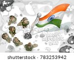 illustration of indian army... | Shutterstock .eps vector #783253942