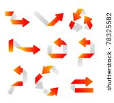 set of orange arrows. bent...   Shutterstock .eps vector #78325582