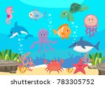 sea life  marine animals set... | Shutterstock .eps vector #783305752