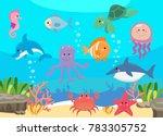 sea life  marine animals set... | Shutterstock .eps vector #783305752