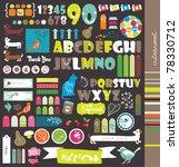 scrapbook elements with letters | Shutterstock .eps vector #78330712