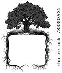 oak tree with roots frame.... | Shutterstock .eps vector #783308935