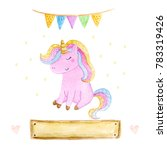 isolated cute watercolor... | Shutterstock . vector #783319426