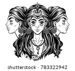 magic godess hecate. triple... | Shutterstock .eps vector #783322942