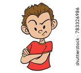 angry boy with crossed arms... | Shutterstock .eps vector #783326986
