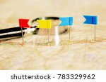 pin flags marking  travel... | Shutterstock . vector #783329962