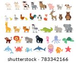 Stock vector cute animals collection farm animals wild animals marina animals isolated on white background 783342166
