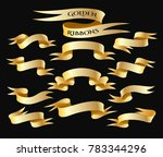 set of golden ribbon isolated... | Shutterstock .eps vector #783344296