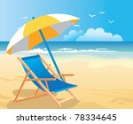 beach chair   umbrella | Shutterstock .eps vector #78334645