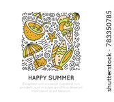 summer and beach hand draw icon ... | Shutterstock .eps vector #783350785