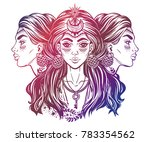 magic godess hecate. triple... | Shutterstock .eps vector #783354562