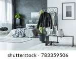 leather jacket on rack and... | Shutterstock . vector #783359506