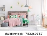 white and pink bedroom interior ... | Shutterstock . vector #783360952
