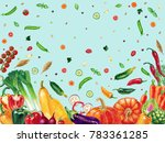 pattern with vegetables... | Shutterstock . vector #783361285