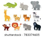 wild animals set in flat style... | Shutterstock . vector #783374605
