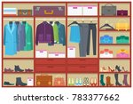 wardrobe room full of clothes... | Shutterstock .eps vector #783377662
