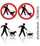 Stock vector persons walk pet dog cat icons pets allowed on leashes or no dogs cats or pet crossing 7833841