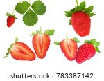 set of fresh organic strawberry ... | Shutterstock . vector #783387142