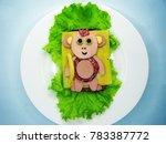 creative sandwich snack with... | Shutterstock . vector #783387772