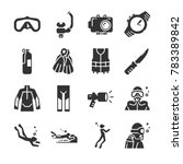 scuba diving icon set. included ... | Shutterstock .eps vector #783389842