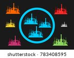 circle of united factories... | Shutterstock .eps vector #783408595