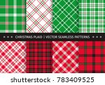set of christmas plaid and... | Shutterstock .eps vector #783409525