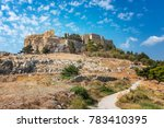 way to acropolis of lindos ... | Shutterstock . vector #783410395
