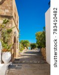 streets of lindos village with... | Shutterstock . vector #783410482