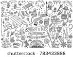 Set Of Winter Doodles With...