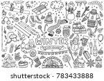 set of winter doodles with... | Shutterstock .eps vector #783433888