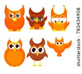 flat cartoon owl set  owls with ... | Shutterstock .eps vector #783434908
