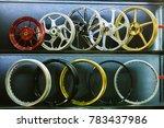 motorcycle alloy on shelves | Shutterstock . vector #783437986