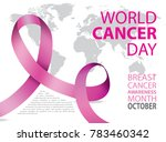 world cancer day poster. pink... | Shutterstock .eps vector #783460342