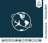 airplane fly around the planet... | Shutterstock .eps vector #783463885