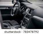 Luxury Car Interior. Steering...