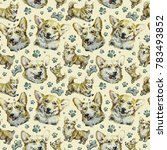 Watercolor Pattern With Funny...