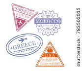 airplane travel stamps greece... | Shutterstock .eps vector #783502015
