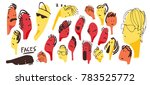 faces in many expression.... | Shutterstock .eps vector #783525772