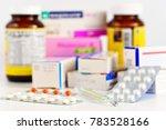 medicine on the table. pills...   Shutterstock . vector #783528166