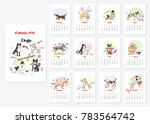 calendar 2018 dogs sketches.... | Shutterstock .eps vector #783564742
